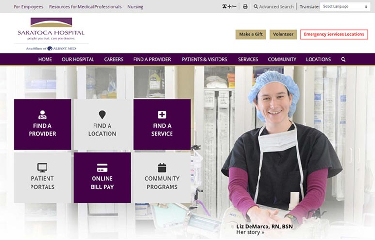 Website header with nurse and navigation buttons