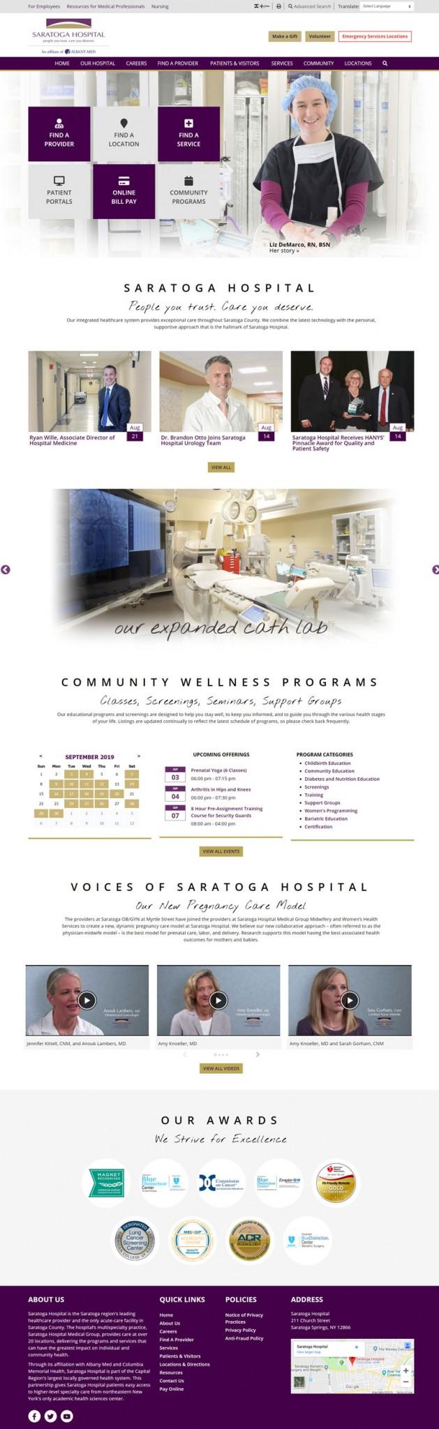 saratoga hospital homepage layout